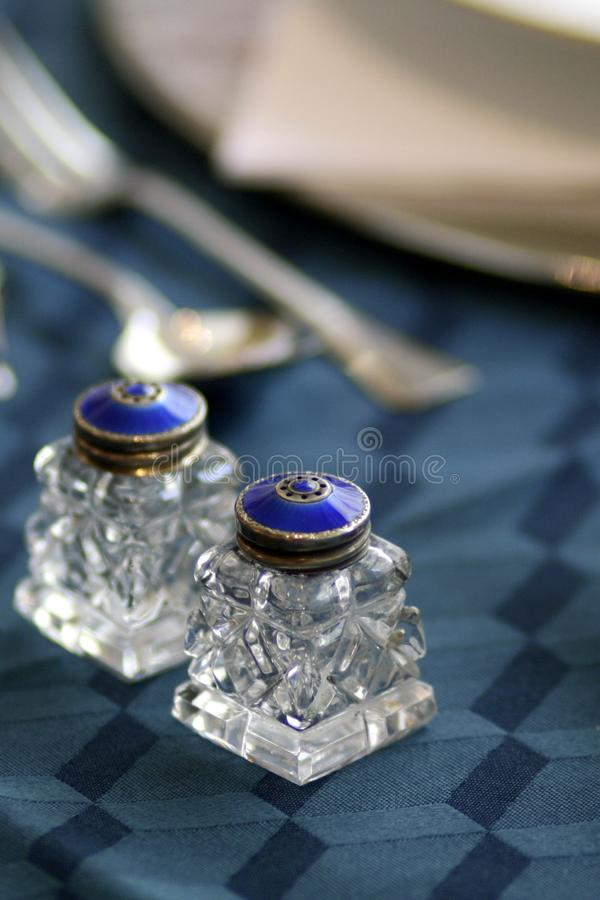 Blue enamel and crystal art deco salt and pepper shakers still life stock photography