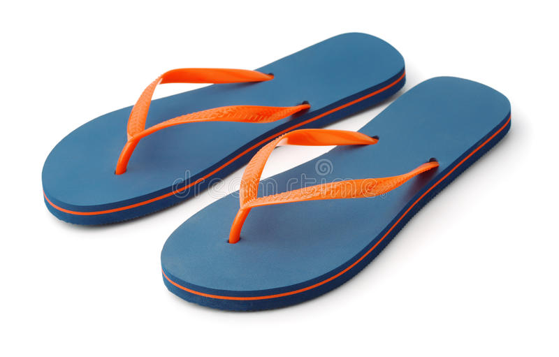 Pair of blue flip flops. Isolated on white royalty free stock image