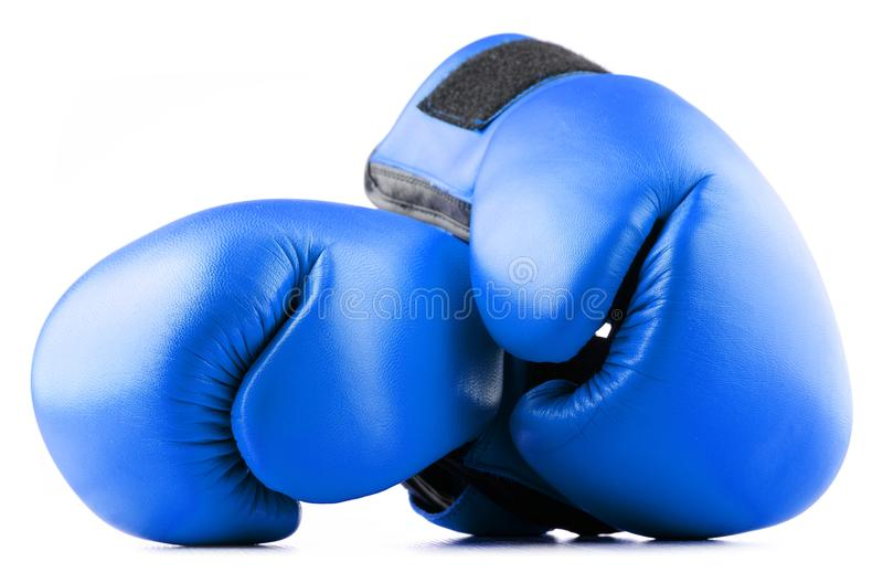 Pair of blue leather boxing gloves on white. Background royalty free stock images
