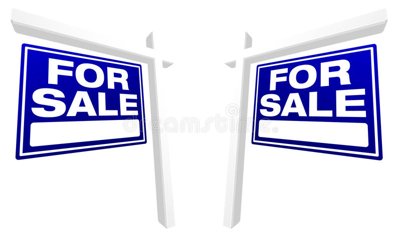 Pair of Blue For Sale Real Estate Signs royalty free stock images