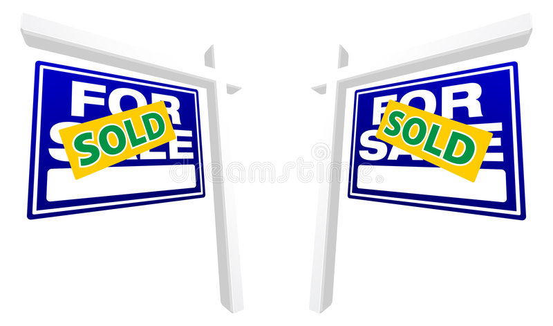 Pair of Blue For Sale Real Estate Signs stock image