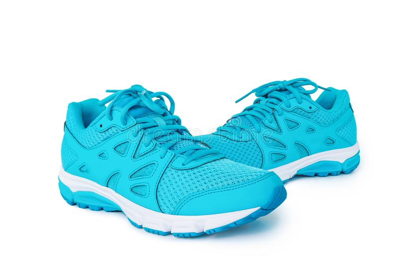 Pair of blue sneaker isolated on white background. royalty free stock photo