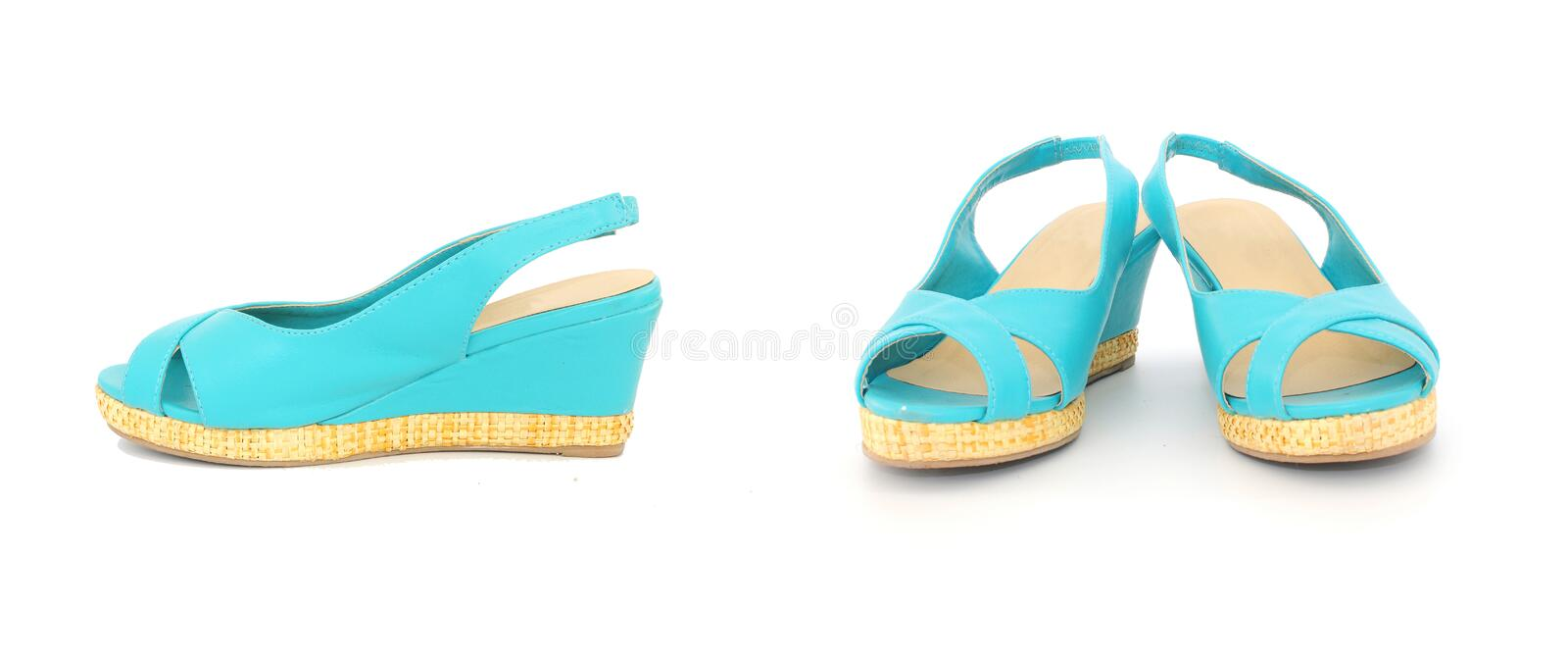 Pair of blue summer lady shoes