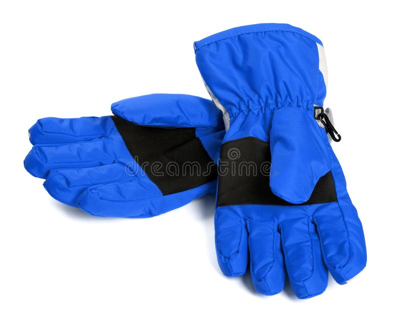 Pair of blue winter ski gloves. Isolated on white background royalty free stock images