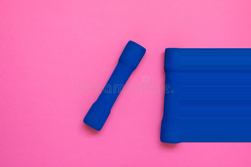 Pair of blue women`s dumbbells on fuchsia pink background top view flat lay. Pixel stretch glitch for dynamics imitation. Fitness royalty free stock photos