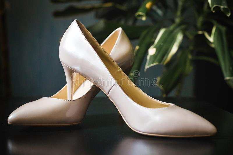 Pair of bridal shoes royalty free stock photography