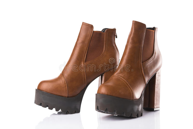 Pair of brown leather boots stock photo