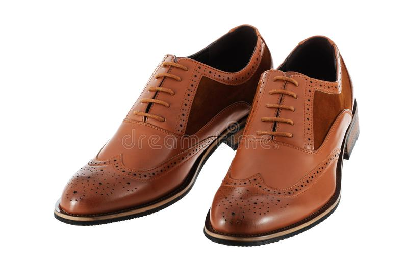 Pair of brown leather men`s shoes brogues on a white background with clipping path royalty free stock photos