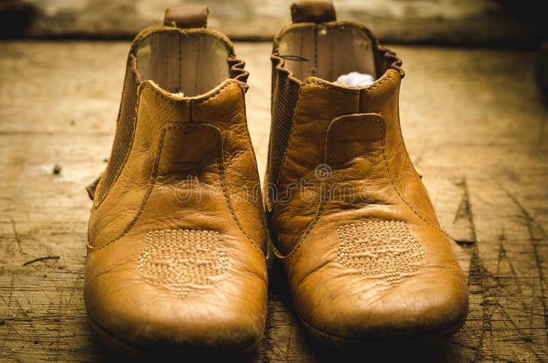 Pair of Brown Leather Shoes stock photo