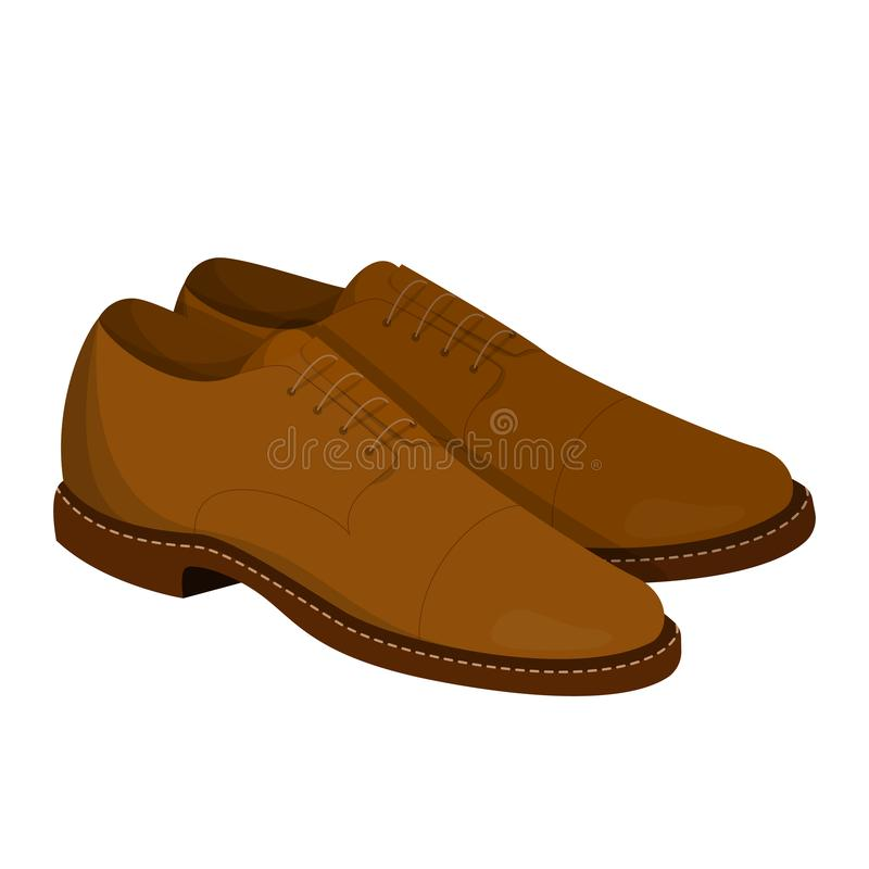 Pair of brown leather shoes. Clean footwear vector illustration