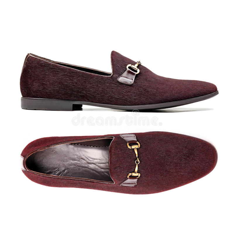 Pair Of Brown Male Shoes Over White Stock Image