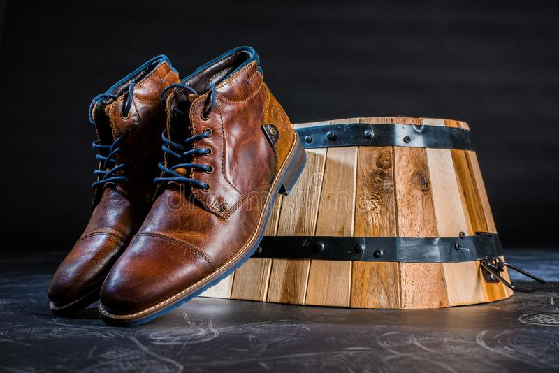 Brown Leather shoes royalty free stock photos
