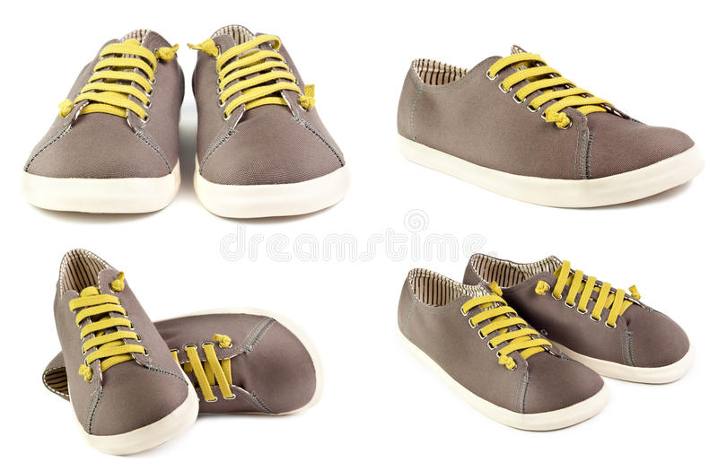 Download Pair Of Brown Men Sneakers Isolated On White Stock Image - Image: 20128895