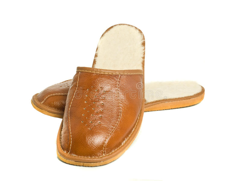 Download Pair Of Brown Mens House Slippers Stock Photography - Image: 12816002