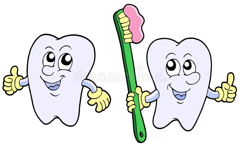 Pair of cartoon teeth stock illustration