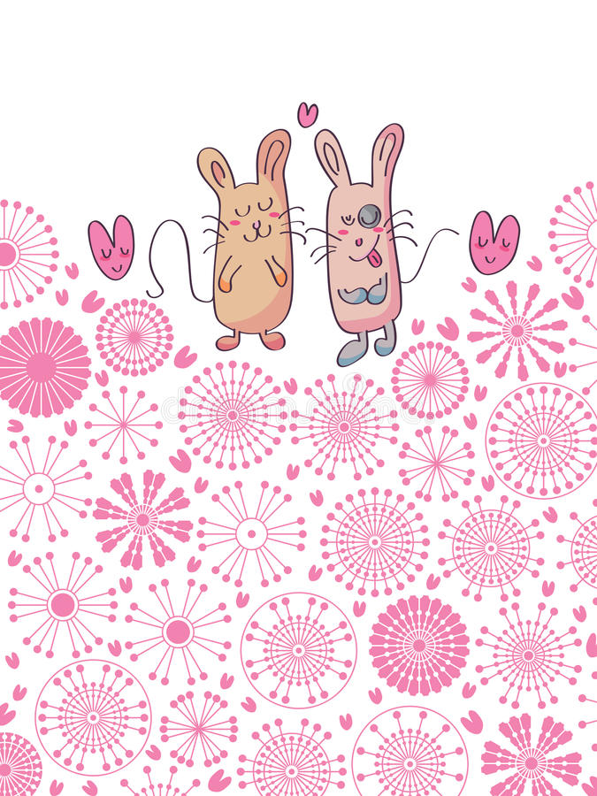 Free Pair Cat And Mouse Card Circle Flowers_eps Royalty Free Stock Images - 28379079