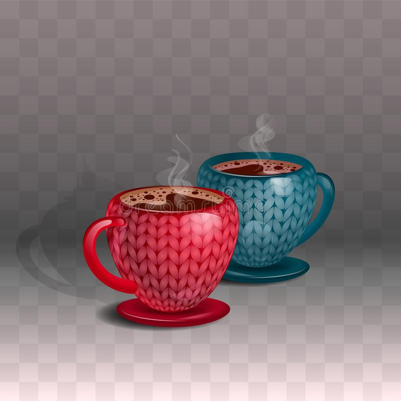 A pair of ceramic mugs of coffee, with a beautiful knitted print. On a transparent background. A pair of ceramic mugs of coffee and steam, with a beautiful vector illustration