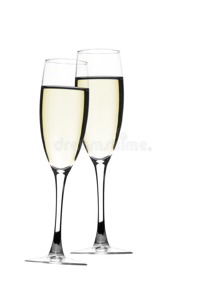 Pair of champagne royalty free stock photos