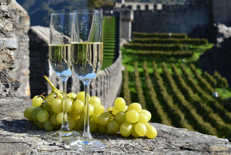 Pair of champagne glasses. And grapes. Bellinzona, Switzerland stock photos