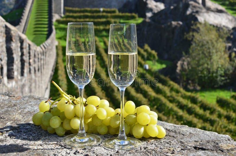Pair of champagne glasses. Bellinzona, Switzerland stock images