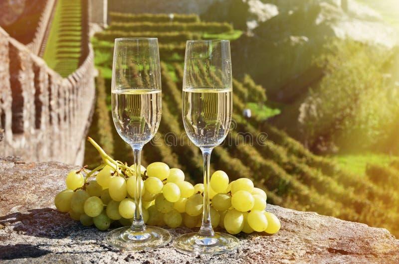 Pair of champagne glasses. Bellinzona, Switzerland royalty free stock images