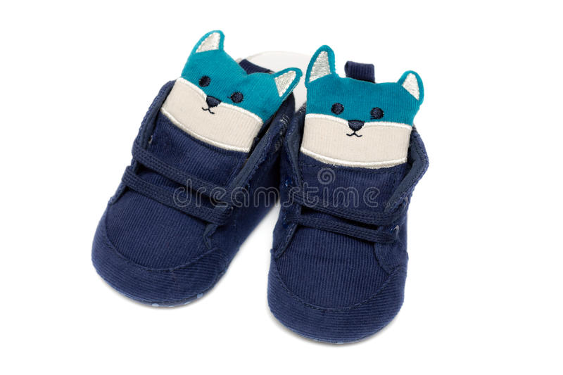 Pair of childrens corduroy shoes. Isolate on white royalty free stock photography
