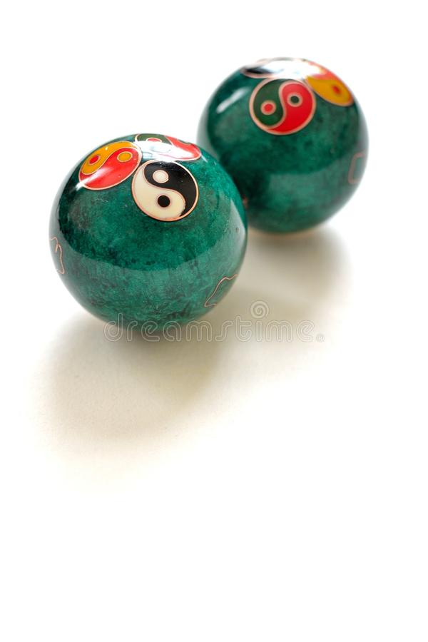 a pair of Chinese anti-stress balls stock photos