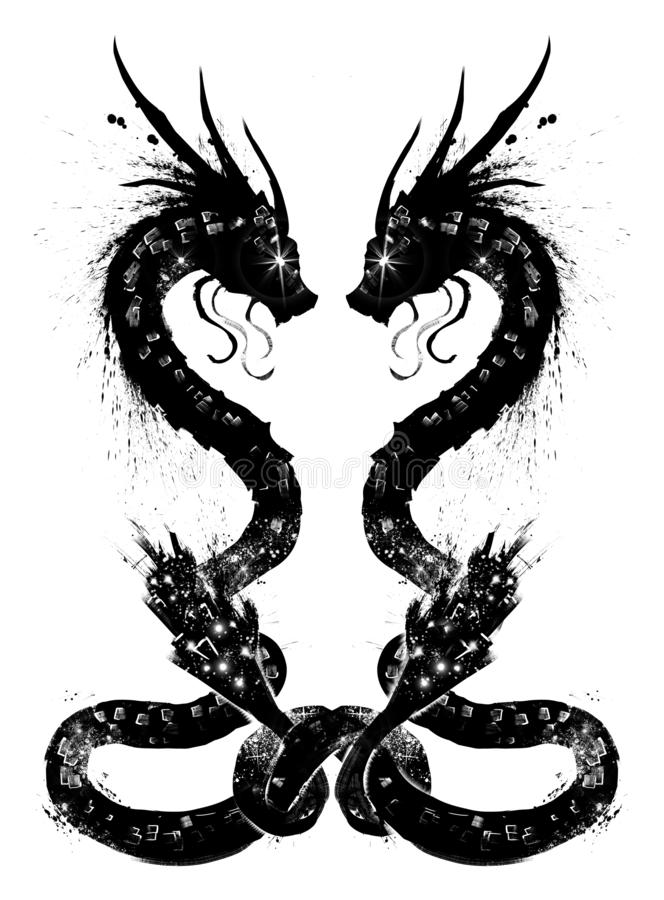 Pair of Chinese dragons royalty free illustration