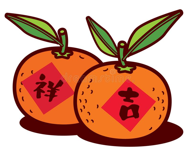 A pair of Chinese New year mandarin oranges with Chinese calligraphy greeting. Translation: Lucky or propitious - vector. A pair of Chinese New year mandarin vector illustration