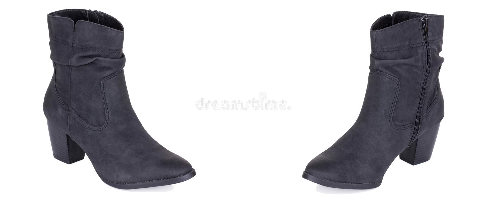 Pair of classical woman cowboy suede boots shoes. Two isolated. Pair of classical black cowboy woman high ankle cowboy suede boots shoes. Two isolated royalty free stock image