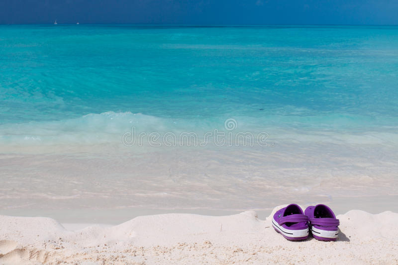 Download Pair Of Colored Sandals On A White Sand Beach Stock Image - Image: 24471229