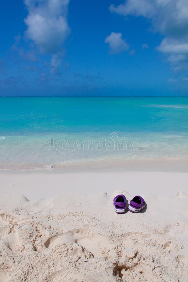 Download Pair Of Colored Sandals On A White Sand Beach Stock Image - Image: 24471247