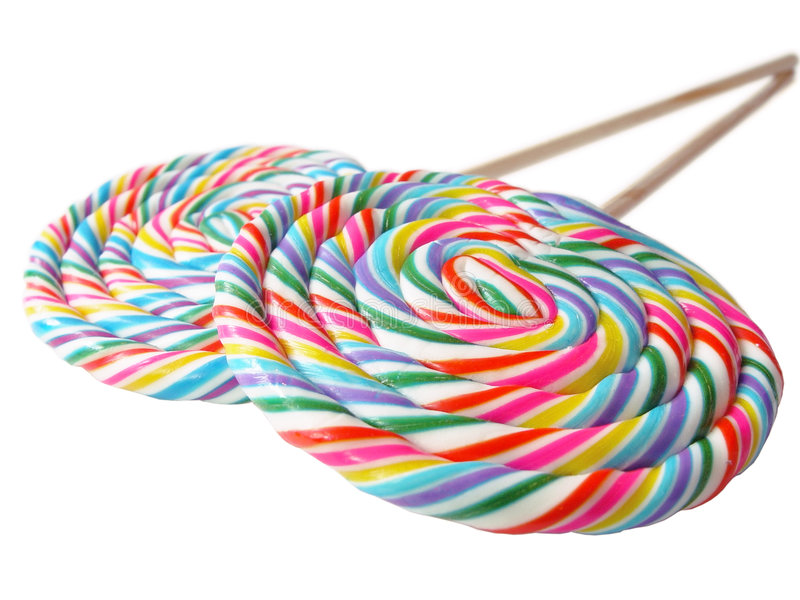 A pair of colorful lollys in perspective stock photo