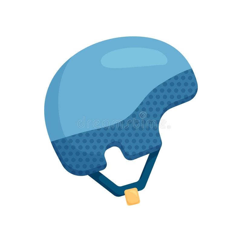 Close-up view of a warm blue ski helmet. Pair of comfortable protective blue ski helmet with yellow buckle and durable clasp isolated on a white royalty free illustration