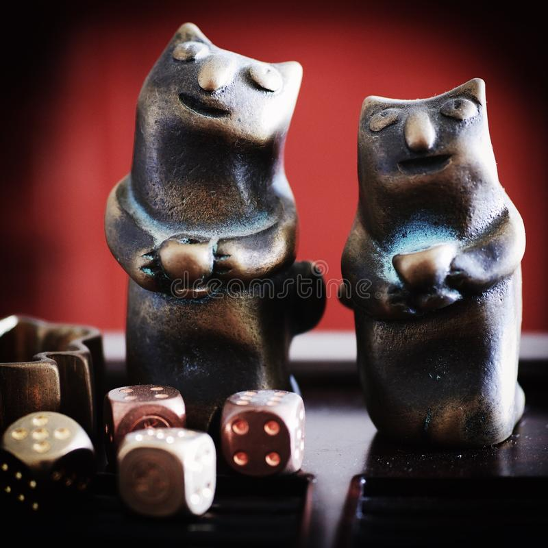 A pair of Copper Cat Tableware royalty free stock image