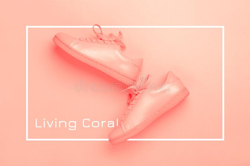 One pair of coral shoes on coral background. Pair of coral shoes on coral background. Trendy Living Coral color of the year 2019. Monochrome image royalty free stock photo