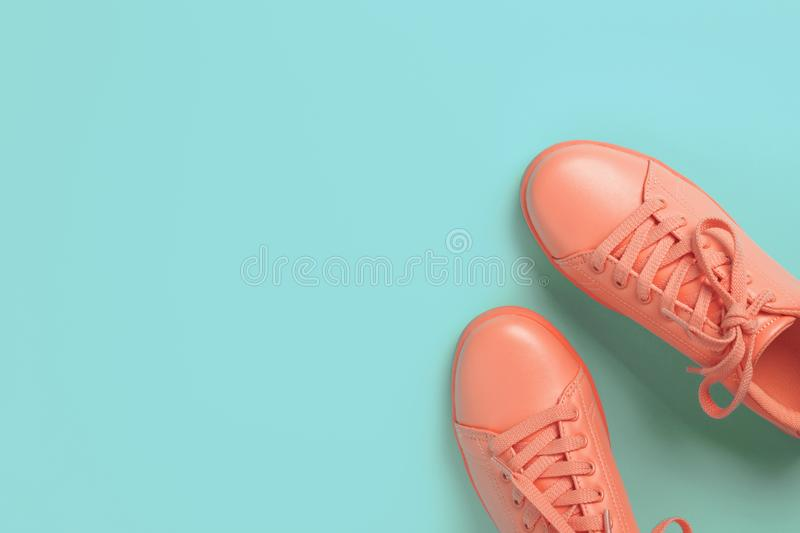 Pair of coral shoes on blue background. stock photos