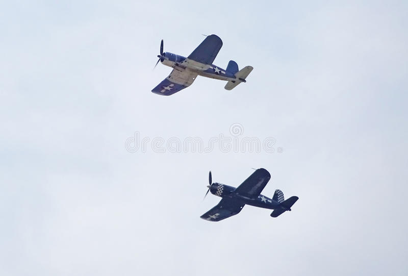 Pair of Corsair Fighter Planes royalty free stock image