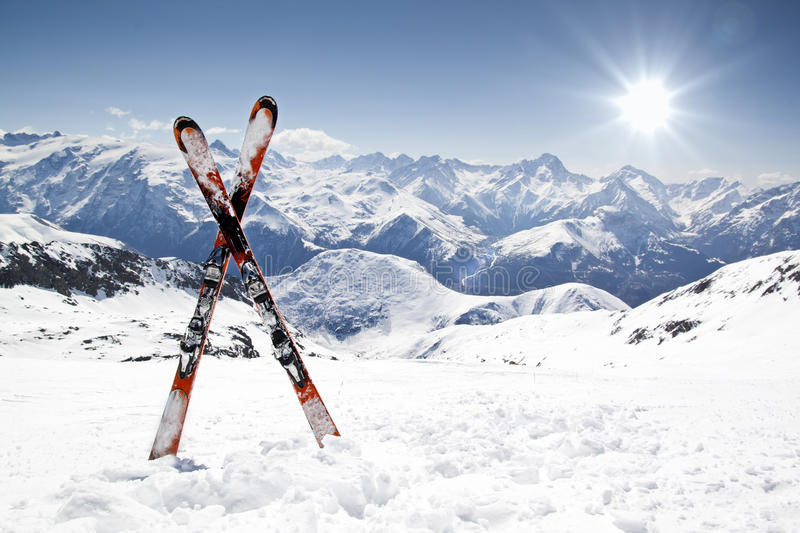 Pair of cross skis royalty free stock images