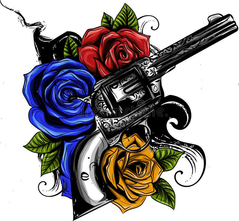 Guns and rose flowers drawn in tattoo style. Vector illustration. stock illustration
