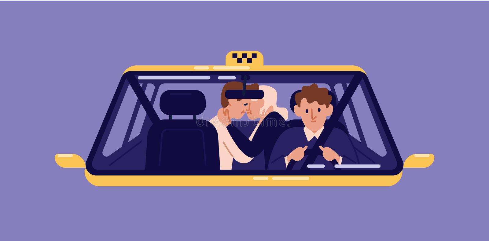 Pair of customers kissing at back seat of taxi and driver seen through windshield. Man and woman in love using. Automobile service. Romantic couple in cab royalty free illustration