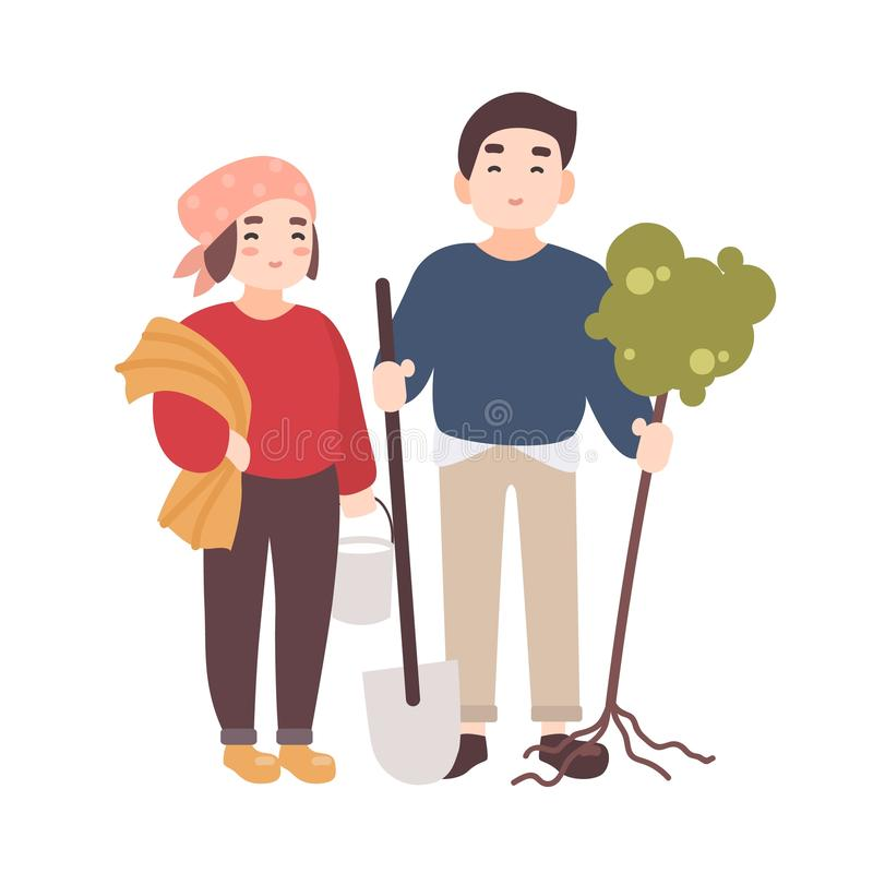 Pair of cute happy smiling man and woman farmers or gardeners carrying seedling to plant and gardening tools. Funny flat stock illustration