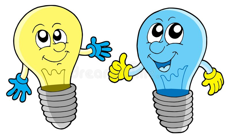 Pair of cute lightbulbs. Vector illustration