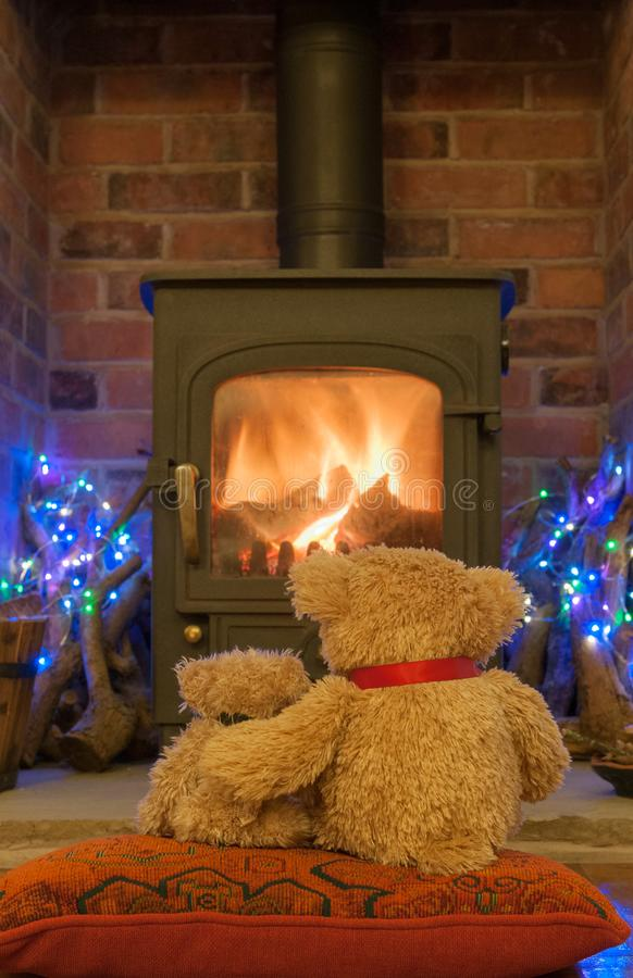 Two Teddy Bears waiting for Santa Claus stock photos