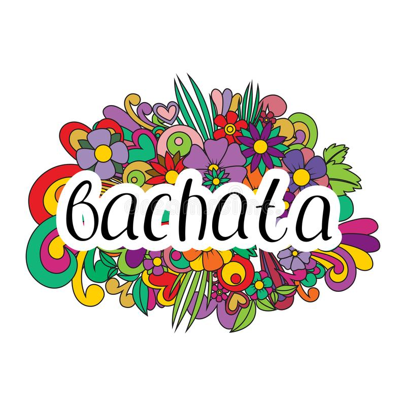 Pair dance bachata. Vector illustration. Abstract floral background. Nice handwriting royalty free illustration