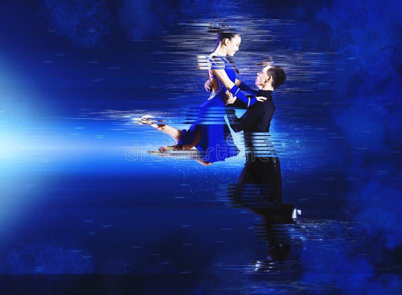 Pair of dancers dancing ballroom stock image