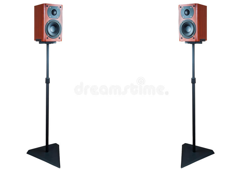 Pair of dark cherry loudspeaker on stands stock images