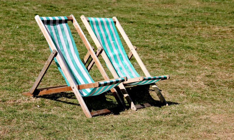 Pair of Deck Chairs stock images