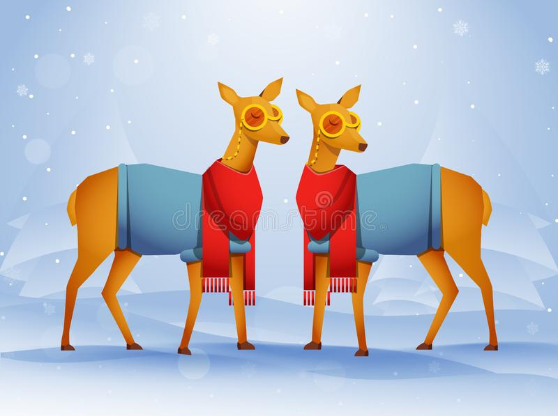 Pair of Deer character wearing woolen clothes with paper cut xmas tree. Pair of Deer character wearing woolen clothes with paper cut xmas tree on blue snowy royalty free illustration