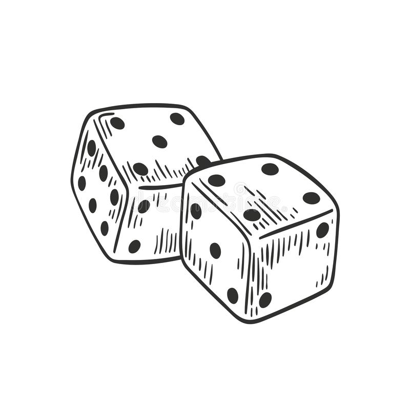 Pair of dice lying with four and five on top side drawn with black contour lines on white background. Throwable gambling vector illustration